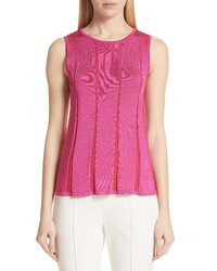 St. John Collection Plaited Fit Flare Sleeveless Sweater