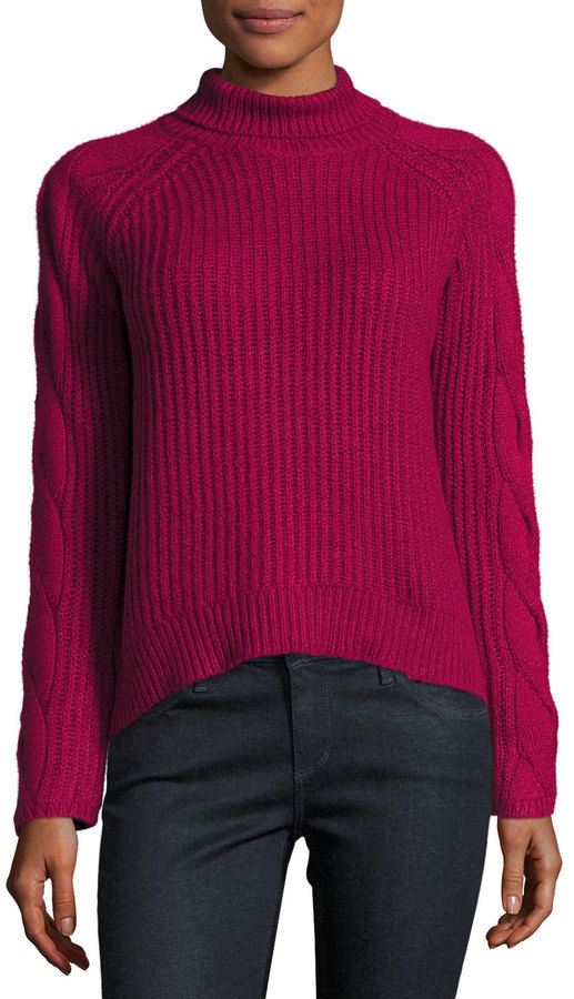 1 STATE 1state Cable Knit Turtleneck Sweater Dark Pink | Where to ...