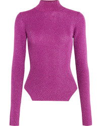 Thierry Mugler Mugler Metallic Ribbed Stretch Knit Turtleneck Sweater Fuchsia