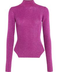 Thierry Mugler Mugler Metallic Ribbed Stretch Knit Turtleneck Sweater Fuchsia