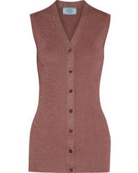 Prada Metallic Ribbed Knit Vest Antique Rose