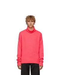 Acne Studios Pink Cashmere And Wool Oversized Nyran Turtleneck