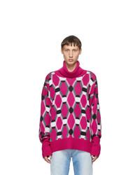 Random Identities Pink Wool Jacquard Sweater