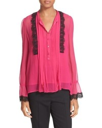 The Kooples Lace Trim Silk Blouse