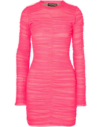 House of Holland Ruched Tulle And Stretch Cotton Jersey Mini Dress