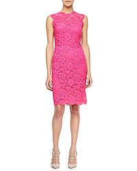 Valentino Sleeveless Lace Sheath Dress Pink