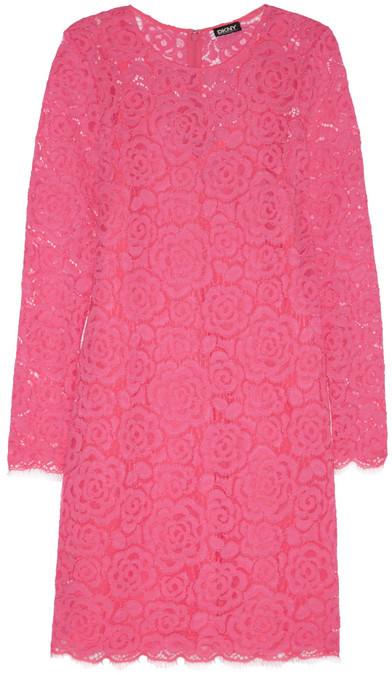335 Dkny Floral Lace Mini Dress