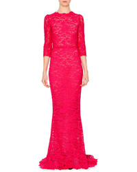 Hot Pink Lace Evening Dress