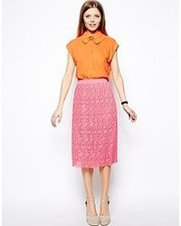 Hot Pink Lace Midi Skirt
