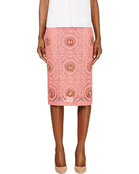 Burberry Prorsum Pink Lace Overlay Embellished Pencil Skirt