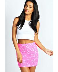 Boohoo candice corded lace fluorescent mini skirt medium 59723