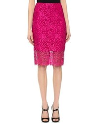 Hot Pink Lace Pencil Skirt
