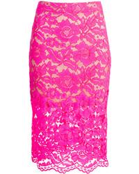 Trina Turk Bretta Pink Lace Skirt