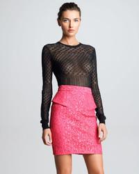 Jason Wu Lace Peplum Skirt Pink