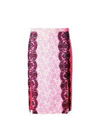 Christopher Kane Lace Trimmed Floral Print Skirt
