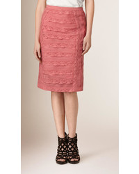 Burberry Tiered Lace Pencil Skirt