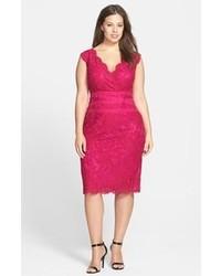 Hot Pink Lace Sheath Dress