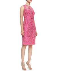 Vince Kalinka Sleeveless Floral Lace Overlay Cocktail Dress Hot Pinkivory