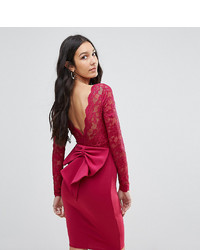City Goddess Tall Long Sleeve Lace Mini Dress With Bow Back