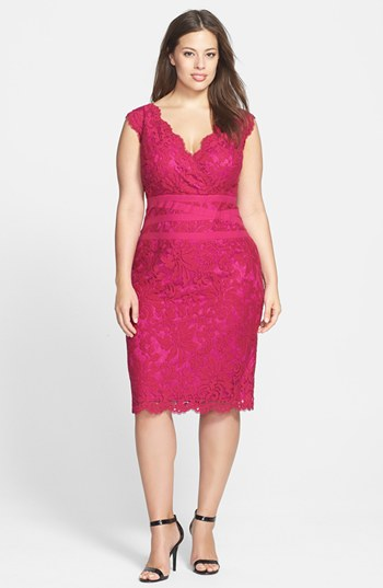 Embroidered Lace Sheath Dress Lotus Pink 16w