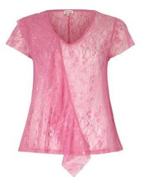 River Island Bright Pink Lace Front Ruffle Top
