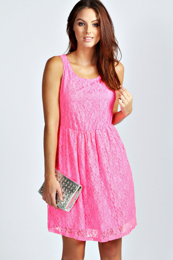 40 Boohoo Alexis Neon Lace Skater Dress