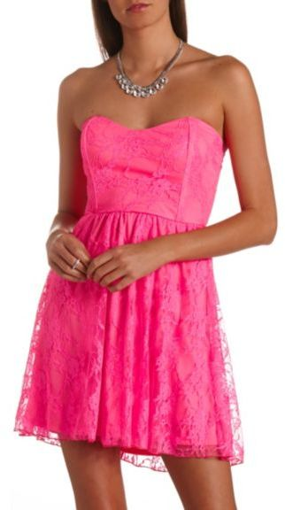 29fe48a37bf0 ... Pink Lace Skater Dresses Charlotte Russe Strapless Neon Lace Skater  Dress ...