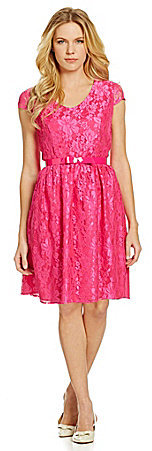 8c9b40ff775 ... Leslie Fay Belted Lace Fit And Flare Dress ...