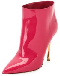 Valentino Garavani Twist Heel Patent Ankle Bootie Fuchsia