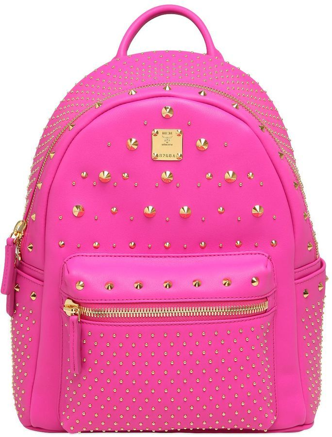 d6ab13633 ... Hot Pink Leather Backpacks MCM Small Stark Special Leather Backpack ...