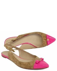 Kate Spade Pink Cork Patent Leather Slingback Flats