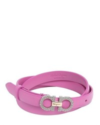 Salvatore Ferragamo 15mm Swarovski Gancio Leather Belt