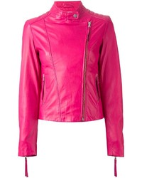 Hot Pink Leather Biker Jacket