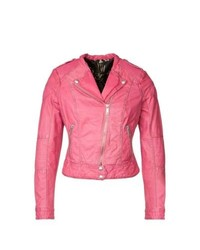 Jofama Marie Biker Leather Jacket Pink