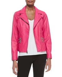 ... Neiman Marcus Leather Moto Jacket W Zip Pockets Hot Pink be3953119dd