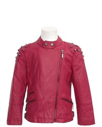 Mirage Fashion Yoki New York Fuchsia Vegan Leather Zipper Studded Jacket Girl 8 10