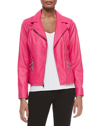 Neiman Marcus Leather Moto Jacket W Zip Pockets Hot Pink