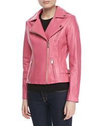 Neiman Marcus Motorcycle Zip Front Leather Jacket Bright Pink
