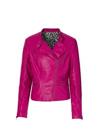 Rainbow Faux Leather Biker Jacket In Hot Pink Size 16