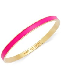 Kate Spade New York Bracelet Gold Tone Fluorescent Pink Hot To Trot Idiom Bangle Bracelet