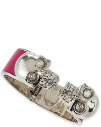 Alexander McQueen Leather Double Skull Cuff Bracelet Pink