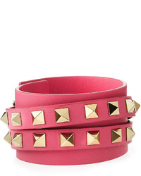 Valentino Rockstud Leather Wrap Bracelet Pink