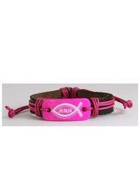 The Quiet Witness 4030192 Jesus Leather Bracelet Bright Pink Christian Religious Bible