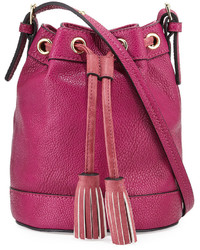 Hot Pink Leather Bucket Bag