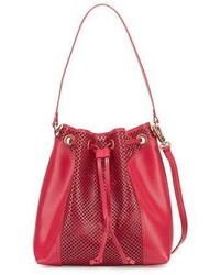 Foley + Corinna Clio Laser Cut Leather Bucket Bag Rose