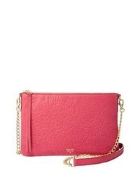 Hot Pink Leather Crossbody Bag