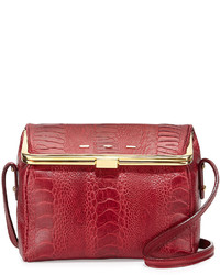Audrey ostrichvitello box crossbody cranberry medium 525683
