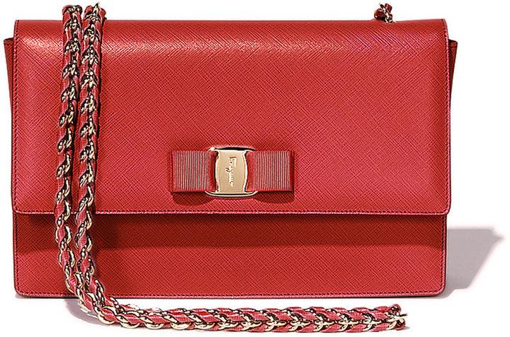 316eec9111 ... Leather Crossbody Bags Salvatore Ferragamo Ginny Vara Medium Crossbody  Bag Rosso ...