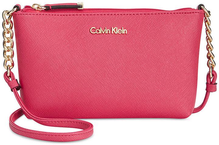 9f08436a715b Calvin Klein Hayden Mini Saffiano Leather Crossbody, $88 | Macy's ...