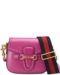 Gucci Lady Web Small Leather Crossbody Bag Pink